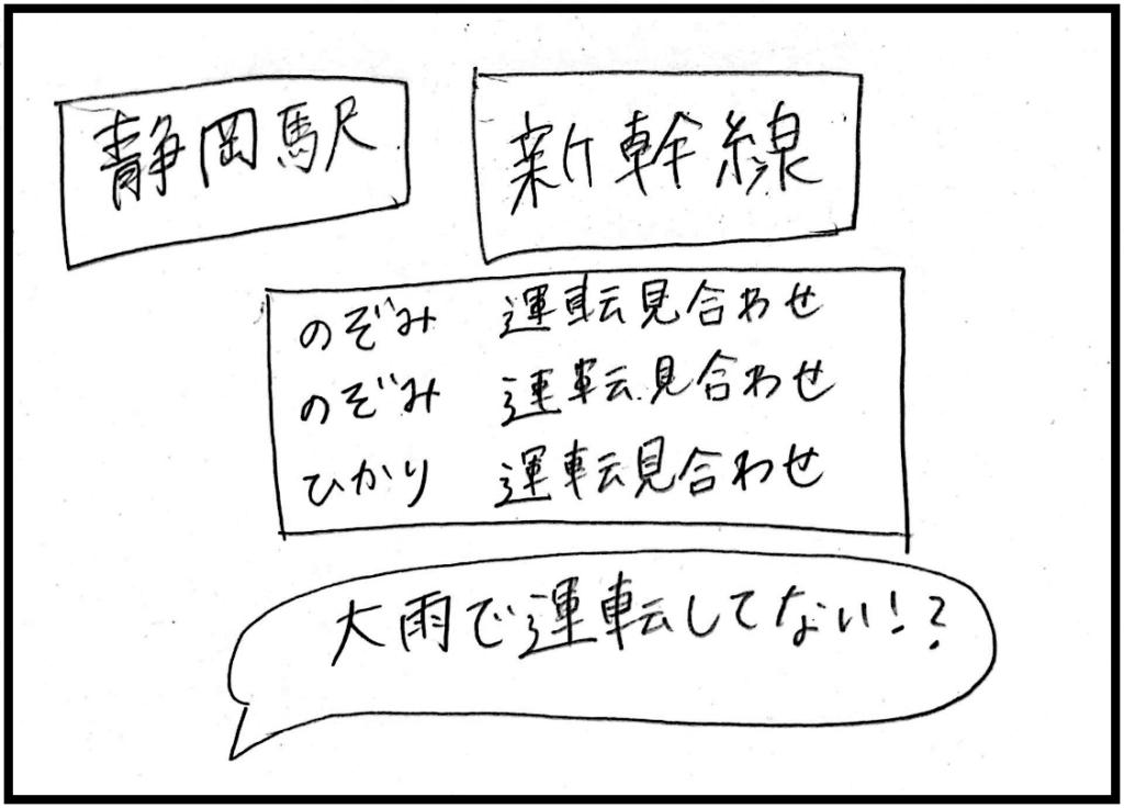 静岡駅新幹線大雨で運休