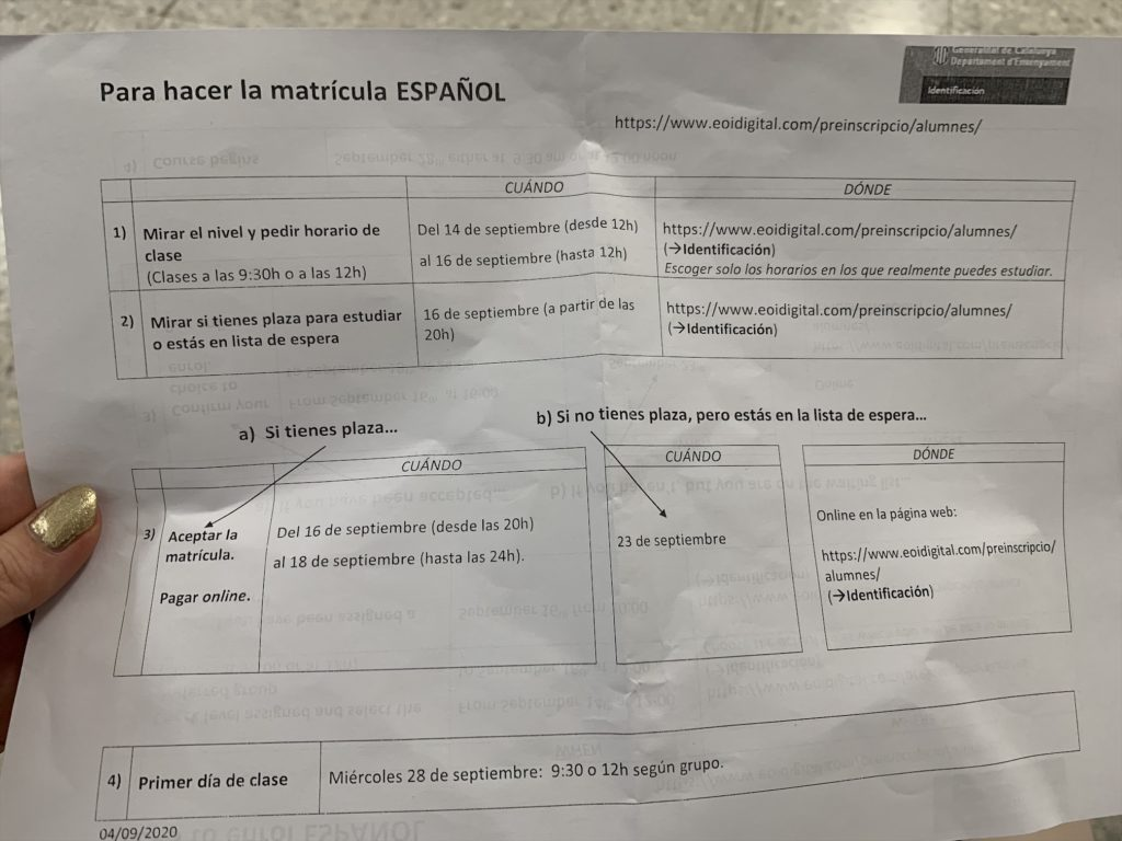 バルセロナの安くて良い公立語学学校EOI