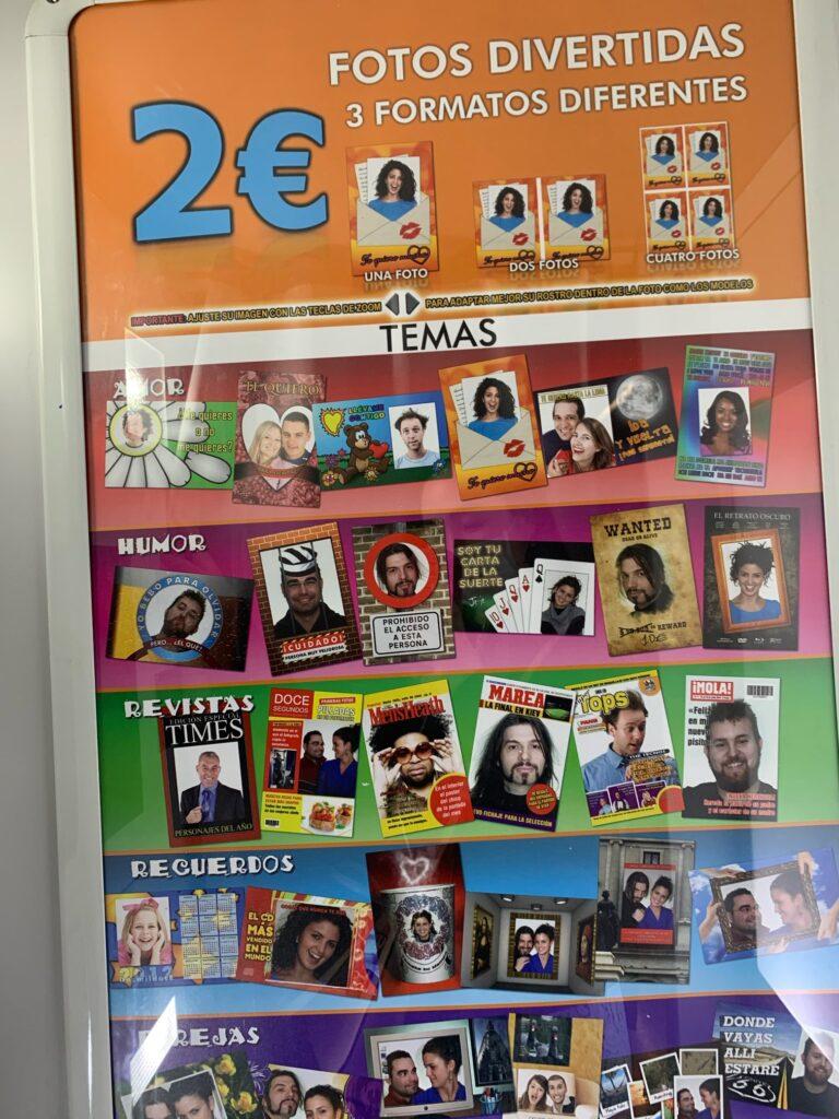 スペインの駅でよく見る証明写真ブース